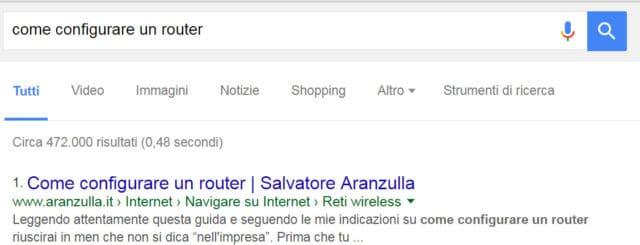 Risultati della ricerca dopo una query su google