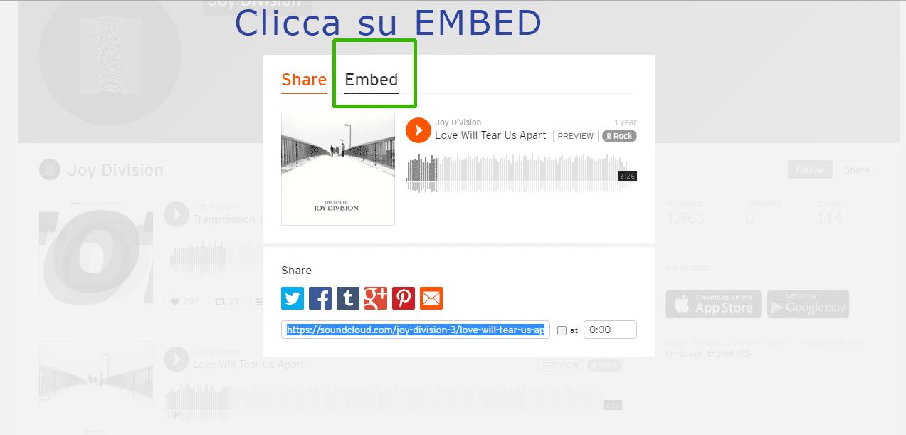 Inserire su WordPress un brano di SoundCloud passaggio 2