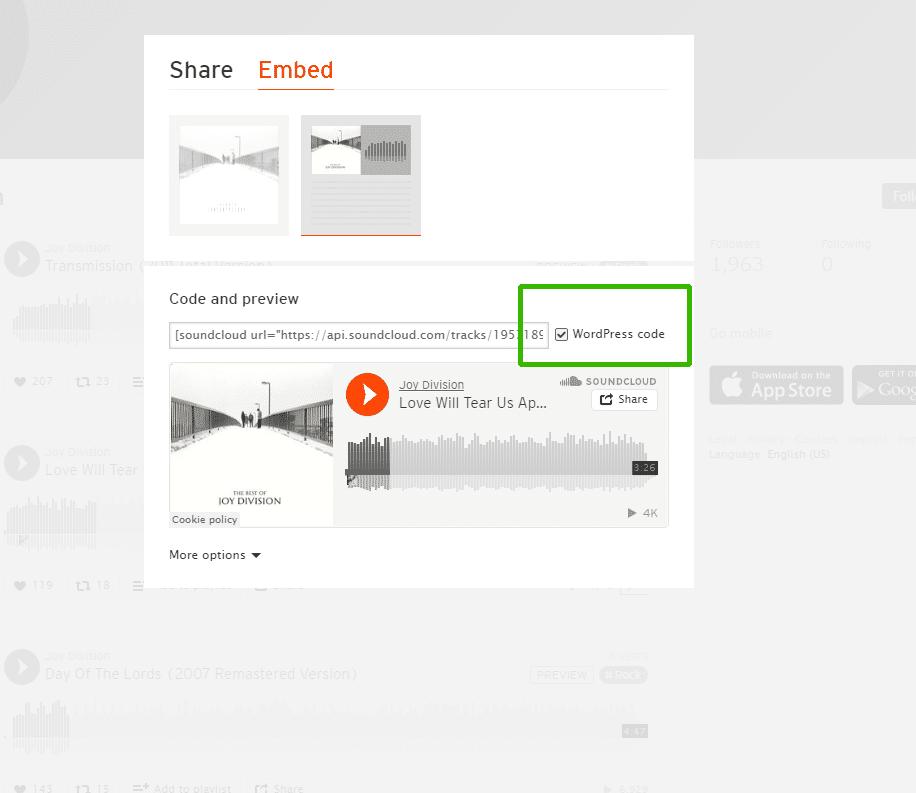 Inserire su WordPress un brano di SoundCloud passaggio 3