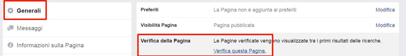 ottenere spunta grigia pagina facebook