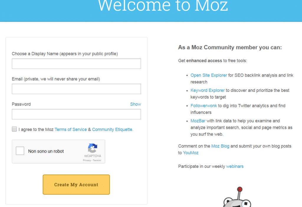 Registrazione alla Community di SEOMOZ