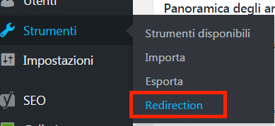 Strumenti - Redirection per effettuare i redirect 301