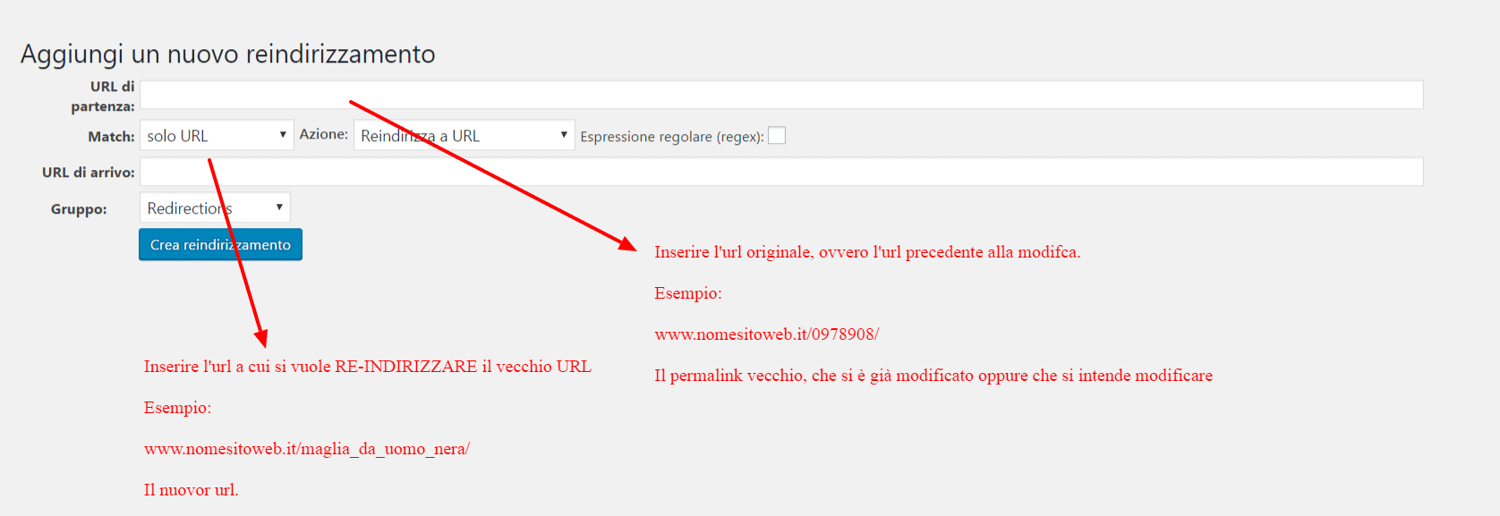 Come funziona il plugin redirection per effettuare i redirect su WP