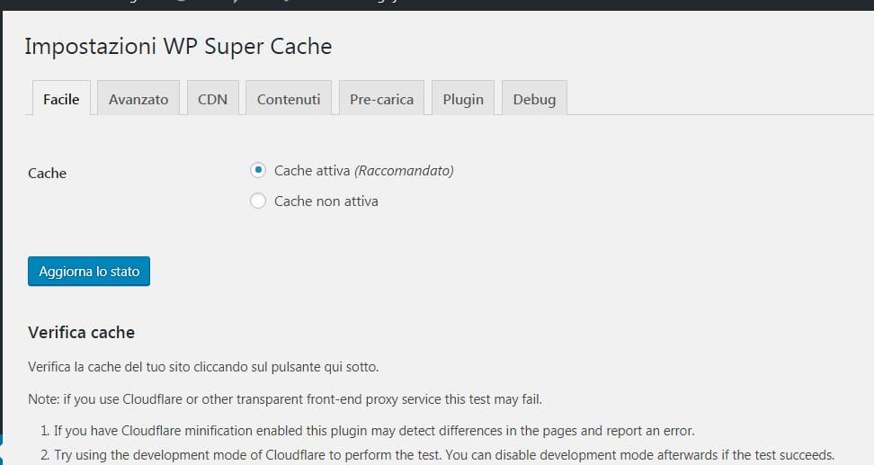 WP Super Cache un plugin per la cache