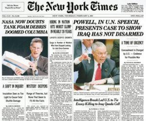 la fake news delle armi di distruzione di massa - New York Times
